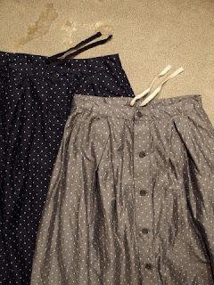 "FWK by Engineered Garments ""Tuck Skirt-Polka Dot Lawn"""