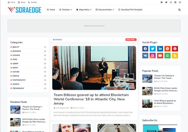 SoraEdge Responsive Blogger Template