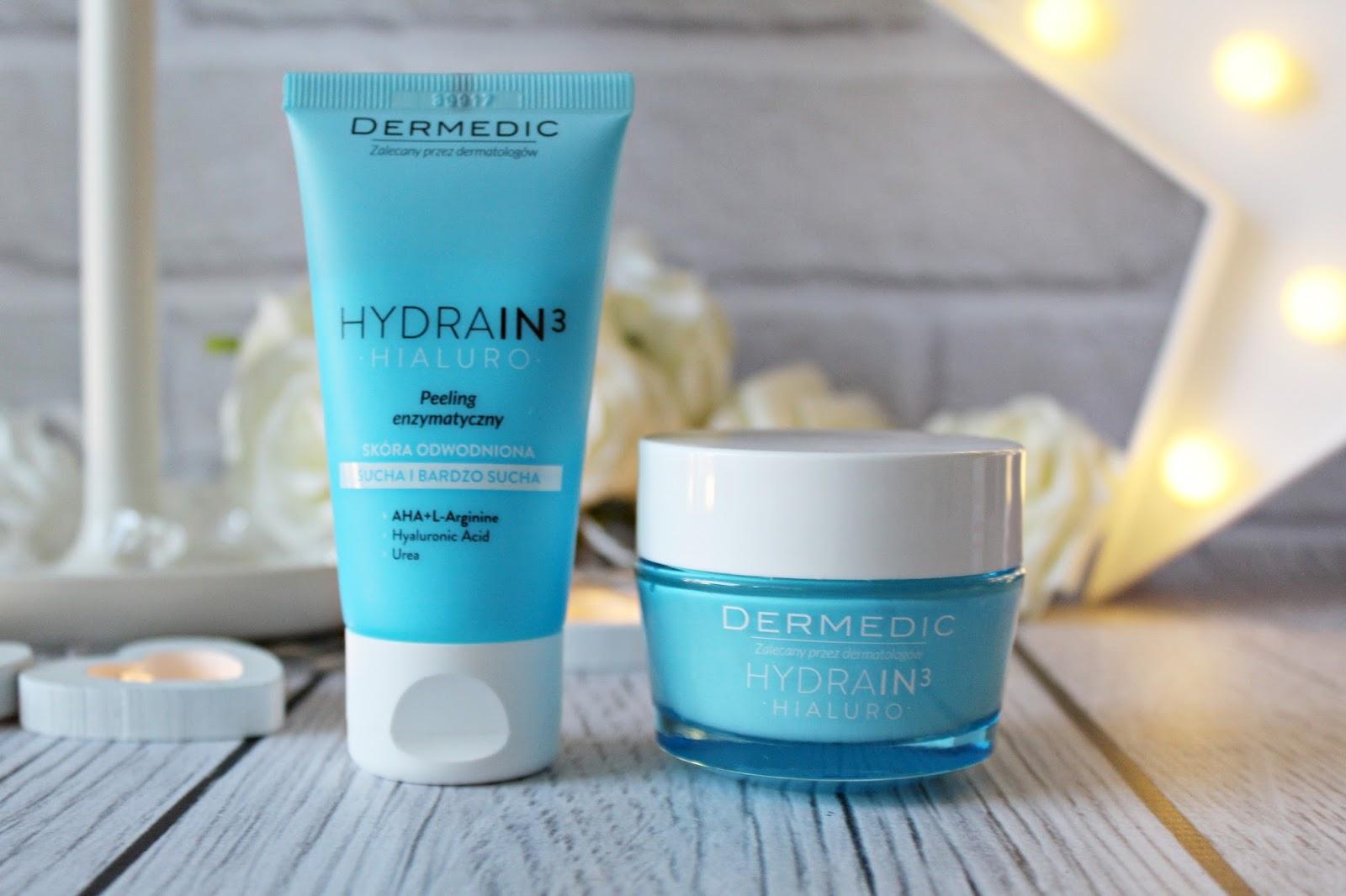 Idealna pomoc dla suchej skóry - DERMEDIC - HYDRAIN3 HIALURO  - peeling enzymatyczny i krem nawilżający