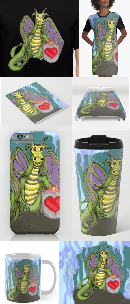 Lovelorn Dragon artwork by Susan Phillips Hicks on Society6 and RedBubble merch
