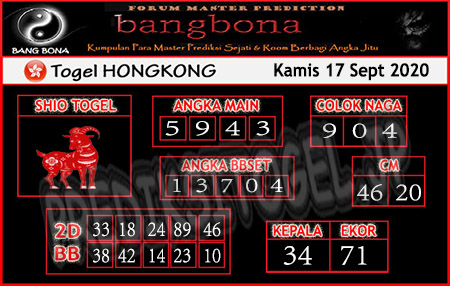 Prediksi Bangbona HK Kamis 17 September 2020