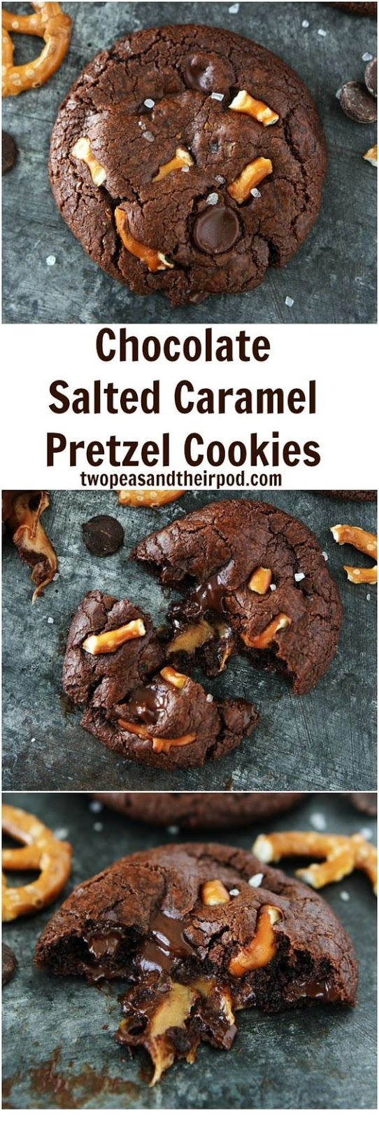 Chocolate Salted Caramel Pretzel Cookies