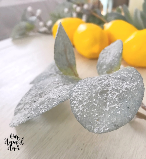 frosted faux leaves lemons