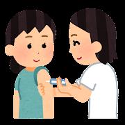 予防注射を受ける人のイラスト(女性)