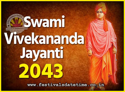2043 Swami Vivekananda Jayanti Date & Time, 2043 National Youth Day Calendar