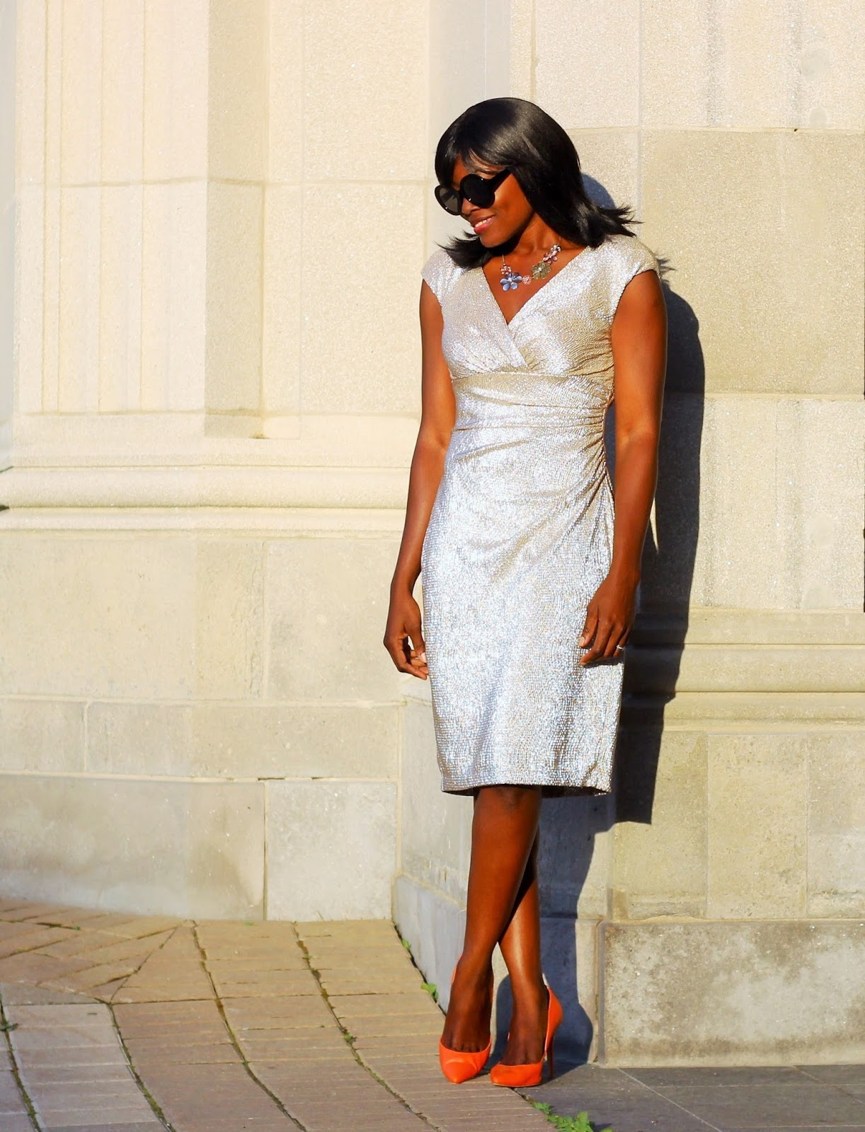 Wedding guest outfit: Foil Empire Dress by Chaps via Kohl's