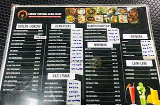 menu senarai harga tanjak sonsang asam pedas melaka