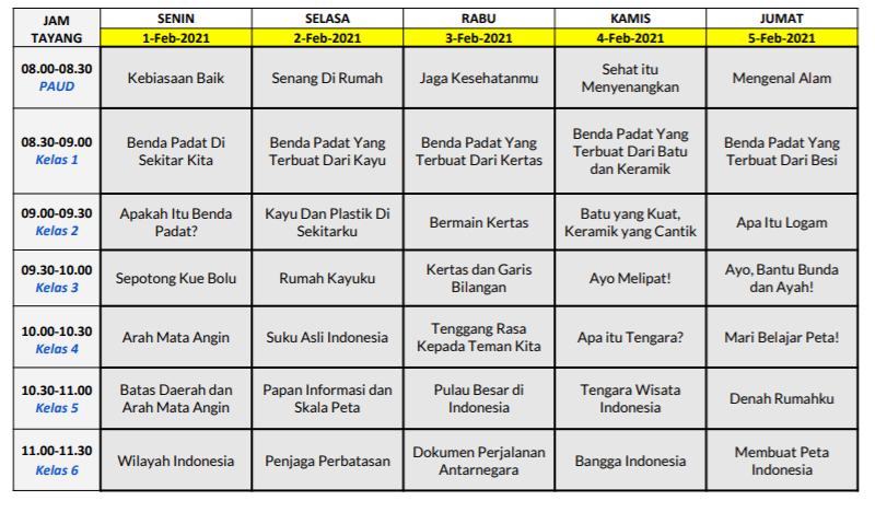 gambar jadwal bdr TVRI minggu kelima februari 2021