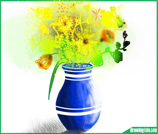 How to draw flower vase   draw flower vase step by step step by step