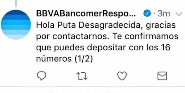 Genera polémica respuesta de Bancomer a usuaria de Twitter.