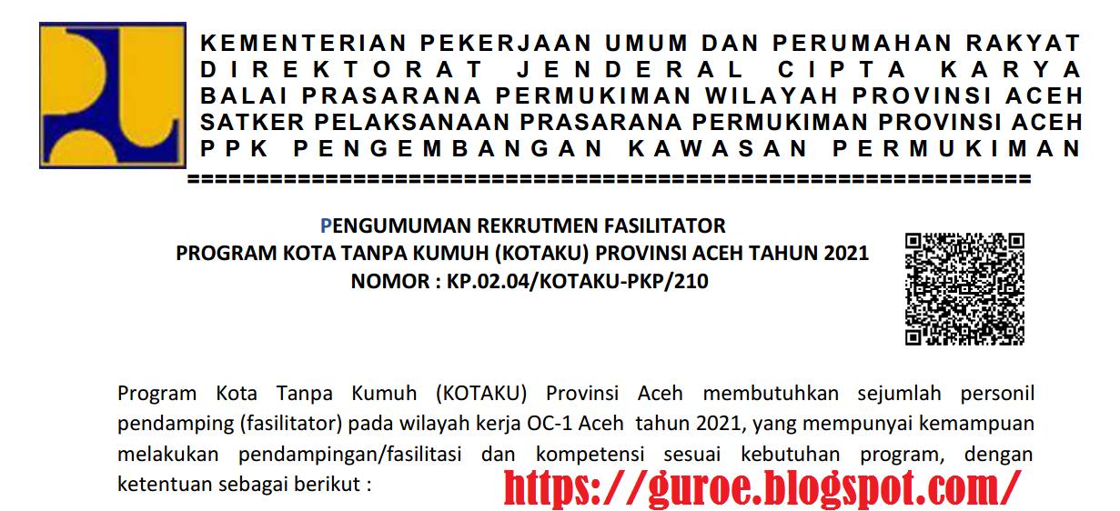 Rekrutmen Fasilitator Program Kotaku Provinsi Aceh Tahun 2021