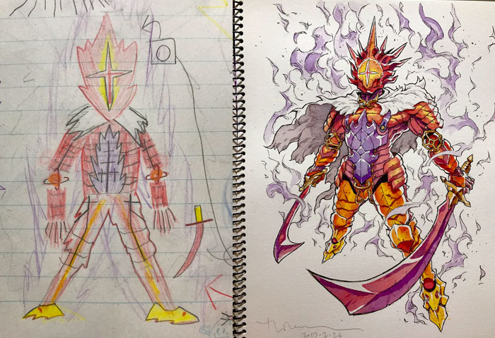 #4 Fire Guardian - Dad Turns His Sons' Doodles Into Anime Characters, And The Result Is Amazing