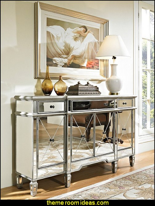 Mirrored reflection Andrea hall console cabinet