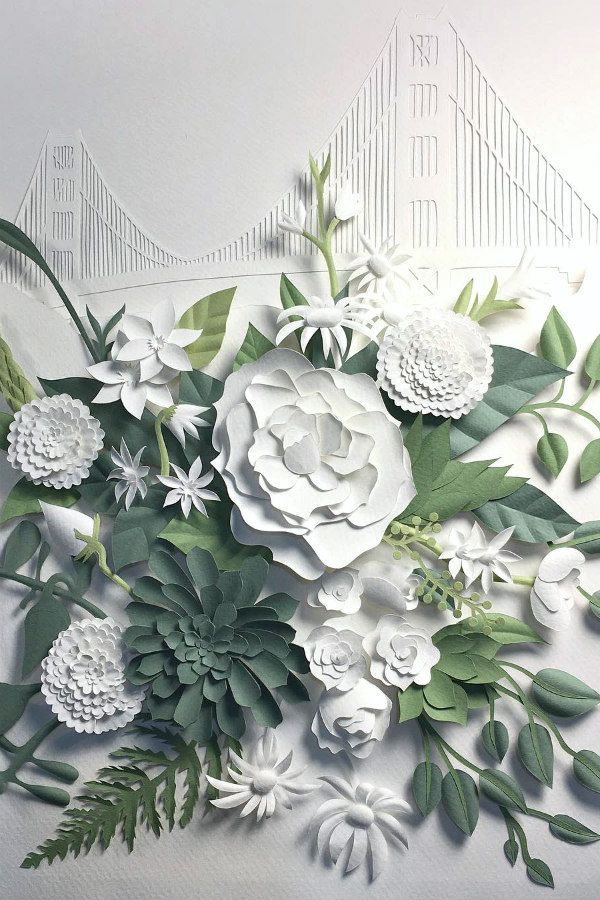 floral paper sculpture with Golden Gate Bridge in background