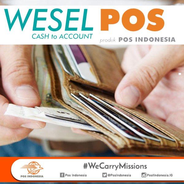 Pengertian WeselPos dan macamnya WESEL POS  Wesel Pos adalah layanan transfer uang cepat dalam negeri, dengan berbagai kelebihan sebagai berikut : Layanan Domestik (Nasional)  Weselpos Instan Weselpos Prima Weselpos Transfer Tunai (Cash To Account) Weselpos Kemitraan Layanan Luar Negeri (Internasional) Western Union, International Express Money Order (IEMO), International Money Order (IMO), BNI Wesel PIN, Wesel Instan BCA, Wesel Instan BSM dan Wesel Instan CIMB Niaga. Jangkauan luas Cepat dan mudah Aman dan handal Terlacak