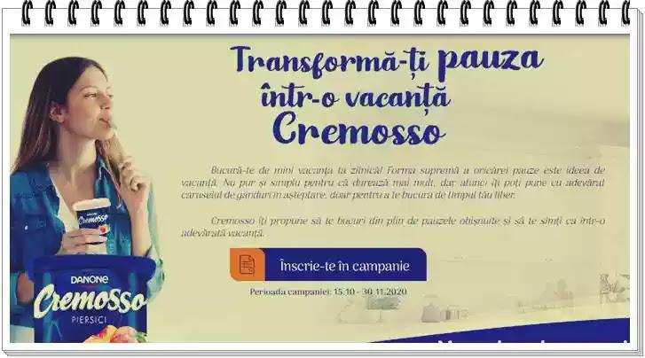 Concurs CREMOSSO 2020 Vacanță la munte, câștigători, premii, produse participante, regulament înscriere