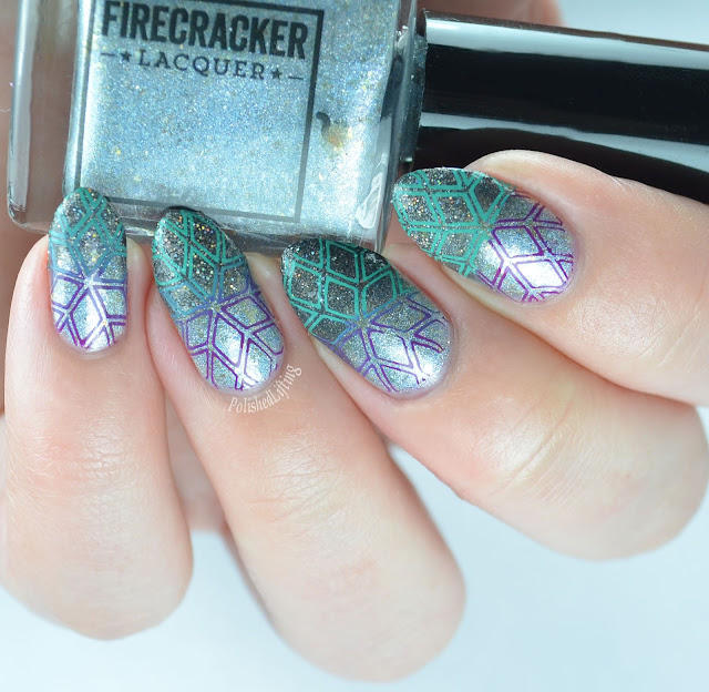 Geometric snowflake using Sally Hansen Insta-Dri Mint Sprint and Firecracker Lacquer Caution: Winter Ahead Don't Be So Dire Wolf The Grape Beyond