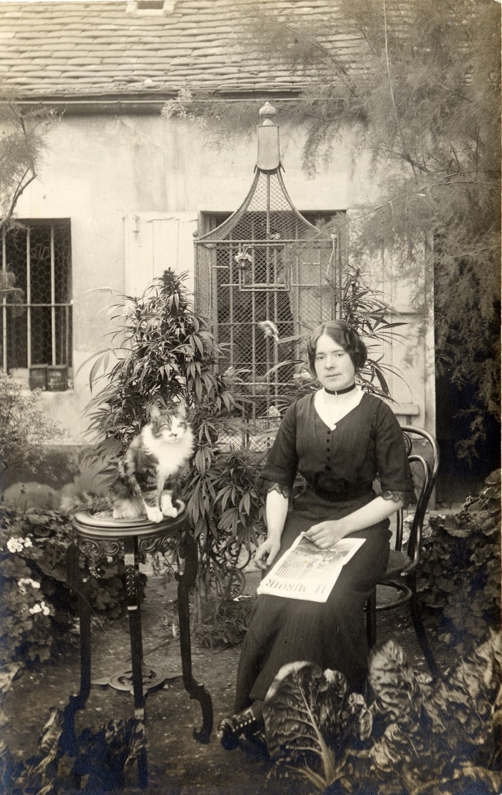 Portrait of a Parisian Woman With Her Cat in Her Cannabis Garden, ca. 1910s