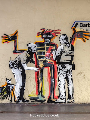 Fresh London Banksy works appear at the Barbican Centre, London. #streetart #Banksy #Hookedblog