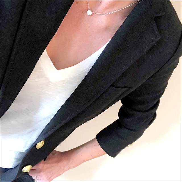 Monochrome, My midlife fashion, shop my style, j crew rhodes blazer, hush cotton slub v neck tee, marks and spencer leather ponte skinny leggings, boden leopard print ballerinas, and/or maya leather slouch shoulder bag, french sole leopard print ballerina pumps