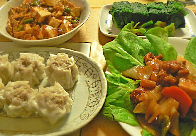 夕食の献立 ほうれん草 シュウマイ マー豆腐 酢豚