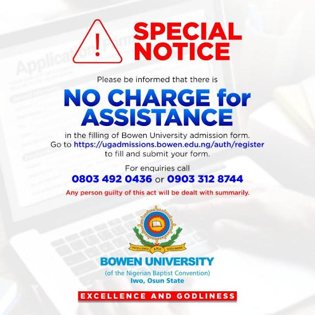 Bowen University Iwo Post-UTME / DE Screening Form 2020/2021