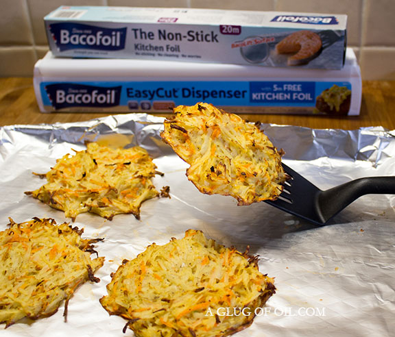 Potato and Carrot Hash Browns on BacoFoil