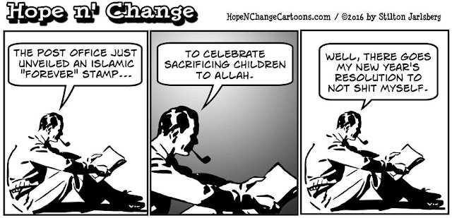 obama, obama jokes, political, humor, cartoon, conservative, hope n' change, hope and change, stilton jarlsberg, islam, stamp, eid, 2016