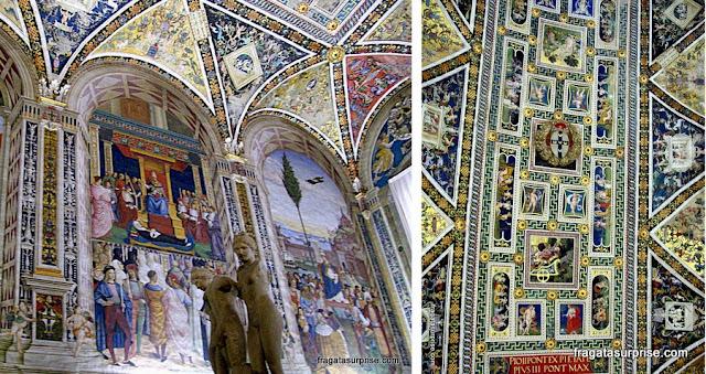 Afrescos decorativos da Libreria Piccolomini, Siena, Itália