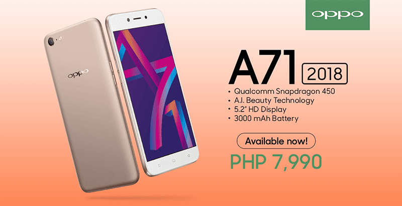 OPPO A71 (2018) now available, priced at just PHP 7,990!