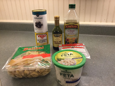Ingredients for cool tortellini with artichokes and pepperoni