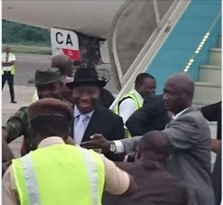 Goodluck Jonathan arrives Nigeria