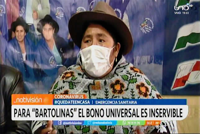 VIDEO: Para las bartolinas el Bono Universal de Bs 500 es inservible