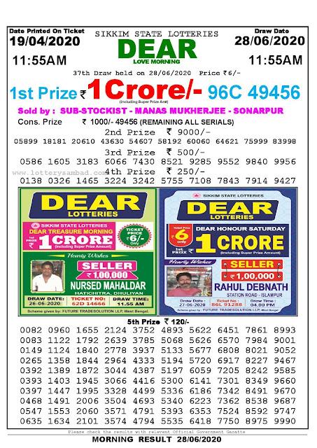 Lottery Sambad Today 19.04.2020 Dear Love Morning 1155 am