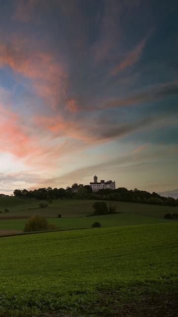 Road, sunset, castle, landscape, grass, hills