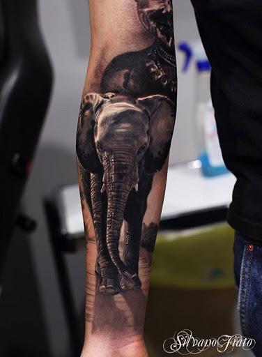 Uma hiper-realista retrato de um elefante é visto aqui.
