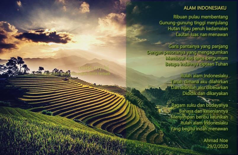 Gambar puisi tentang keindahan alam Indonesia