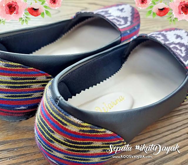 THE WARNA. Detail Sepatu Tenun Ikat Dayak