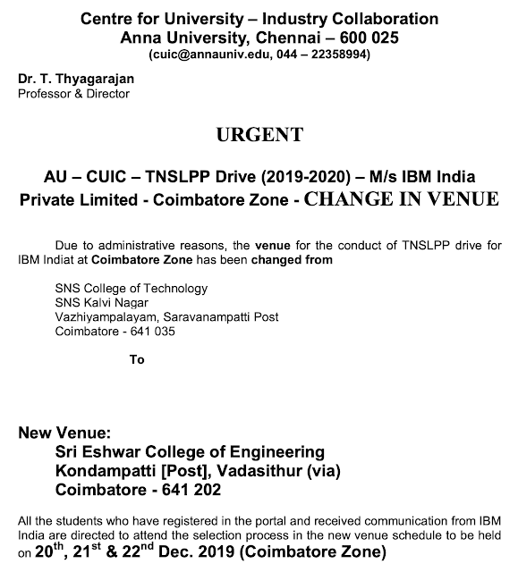 Anna University-IBM Coimbatore Off-Campus venue Changed