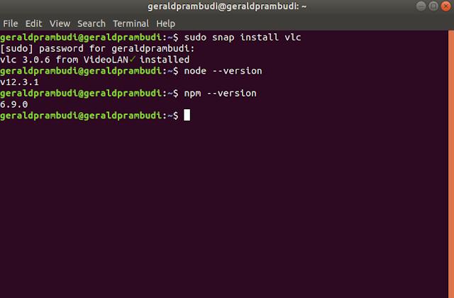 gambar nodejs dan npm jika sudah berhasil di install