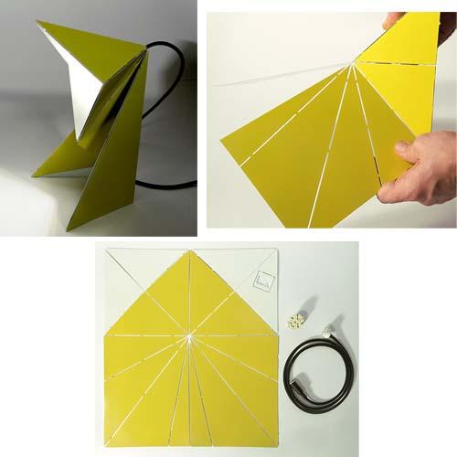 Complementi d'arredo di colore giallo: Origami Falt Lampe ideata da Mirco Kirsch