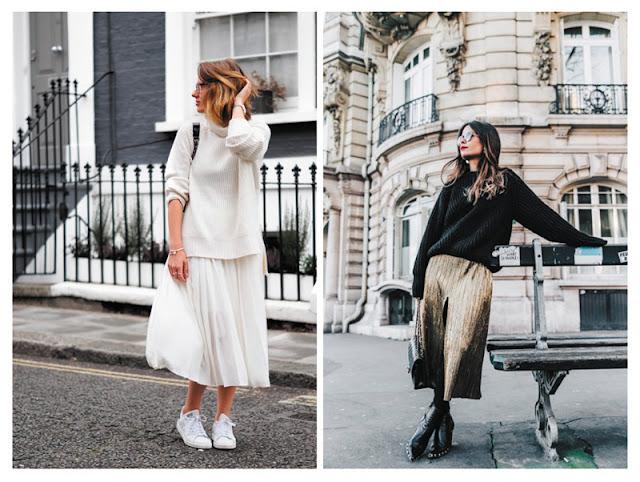Образы с плиссированной юбкой и свитером с улицы