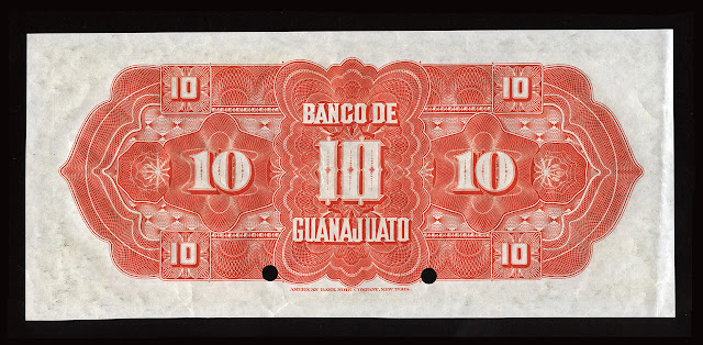 Mexico Banco Guanajato ten Pesos specimen banknote