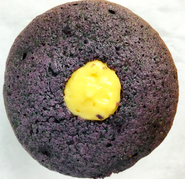 Blueberry Cupcake Filled with Lemon Cream Filling