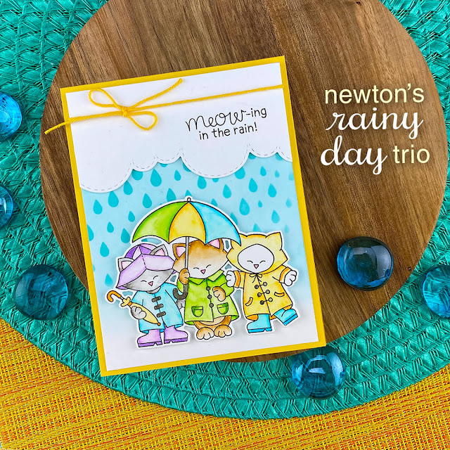 Meow-ing in the Rain Card by Jennifer Jackson | Newton's Rainy Day Trio Stamp Set, Raindrops Stencil and Sky Borders Die Set by Newton's Nook Designs #newtonsnook #handmade