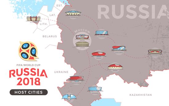Mapa con Ciudades y Estadios de Rusia 2018 - vector