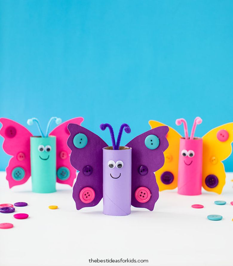 Spring crafts for kids - toilet paper roll butterflies craft