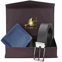 leather wallet and leather belt combo