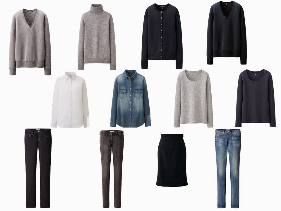 The Common Wardrobe 12-piece neutral wardrobe basic wardrobe core wardrobe in navy and grey