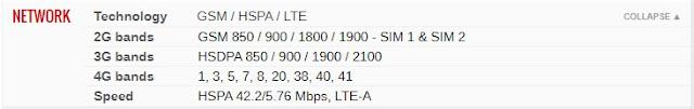Spesifkasi Samsung Galaxy M21- Jaringan